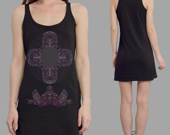 Festival Tank Dress, DMT inspired Mini Tank dress, Tunic Summer Dress, Yoga Clothes. Available in Black, Aubergine and Grey