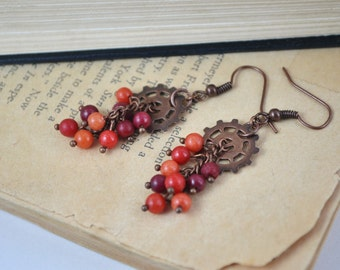 Antiqued Copper Gear and Red Bead Dangle Earrings
