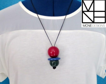 """Fiddle Necklace """"Playful"""" - Red, Purple & Green. One of a kind piece."""