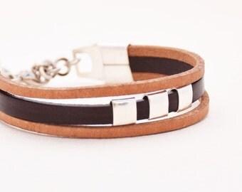 Leather bracelet, Statement bracelet, Women bracelet, Beads bracelet, Brown leather bracelet, Stylish bracelet, Teen bracelet, Gift for her.