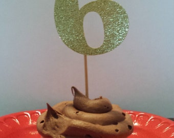 "6th Birthday Cake Toppers...6th Birthday Cupcake Toppers ...Set of 12...Number"" 6 "" in Glitter-choose your Color"
