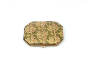 Vintage Art Deco Brocade Compact - Blum's-Vogue Compact - 30s 40s Powder Compact - Floral Brocade Art Deco Compact - Made in France Compact