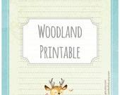 Woodland deer - printable writing paper