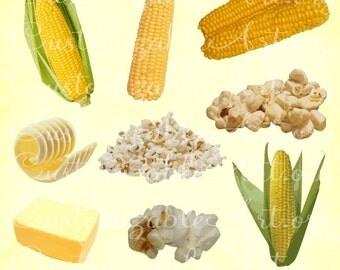 Corn Clipart Popcorn Clipart Sweet Corn Digital Corn on the Cob Husk Butter Kernals Clip Art Pop Corn PNG Scrapbook Images Graphics Clipart