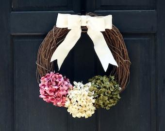 Spring Grapevine Wreath, Rustic Wreath for Spring, Summer Wreath, Front Door Decoration, Pink Cream & Green Hydrangea Wreath for Summer