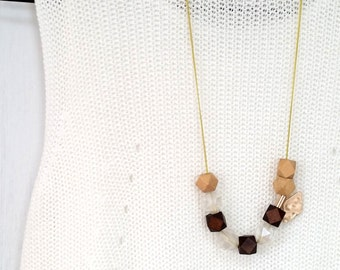 Amusing Beige Brown Beaded Long Chain Necklace (Free Shipping Worldwide)