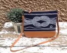 Nautical tote bag,handprinted,navy clutch,leather strap,bridesmaid gift,women gift,sailors knot,boho chic bag,cross body bag,modern tote