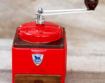 1950's Peugeot French Coffee Grinder / Mill - Striking Red 1950s - Free Shipping within the USA