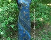 Vintage Boho DRESS, PAISLEY Print Rayon Sleeveless MAXI, Dark Blue green cream, vintage 90s grunge bohemian, hippie chic festival, Midi, Lg