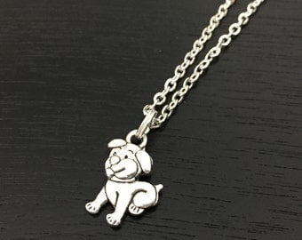 Puppy necklace, dog necklace, silver double sided dog charm, dog jewelry, cute pet charm, animal jewelry, pet jewelry, dog lover gift