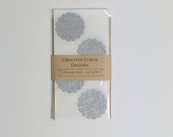 Silver Glitter Scalloped Circle Stickers - Envelope Seals - Pack of 20