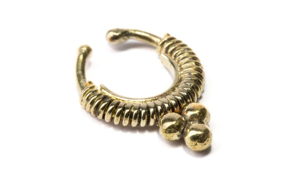 Septum Ring Brass Nickel Free Septum Fake Septum Tribal Jewelery Indian Nose Ring B25 Gift Boxed and Gift Bag Free UK Delivery