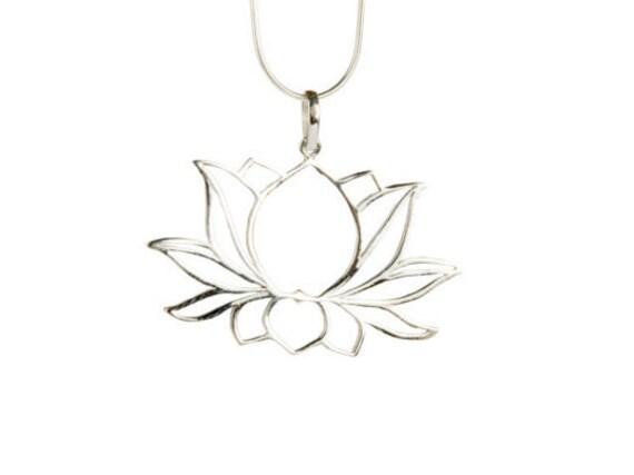 Lotus Flower Sterling Silver Pendant Necklace Spiritual jewellery Yogi Jewellery Handmade Free UK delivery