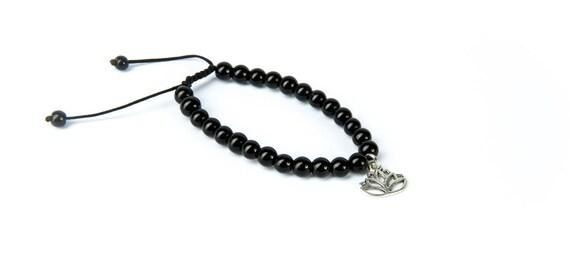 Black Onyx Gemstone Bracelet Lotus Charm Macrame Adjustable Bracelet Unisex Yoga Jewellery Yogi Bracelet Flower  Giftbag  Free UK Delivery
