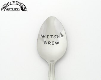 Witch's Brew Hand Stamped Spoon, Stainless Steel, Halloween Party Favors, Halloween Gift, Trick or Treat, Unique Birthday Gift Coworker Gift