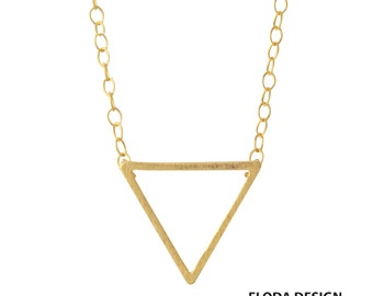 Triangle Necklace in Sterling Silver ( 18k Yellow Gold Plated), Geometric Jewelry, Silver Triangle Necklace, Modern Triangle Necklace.