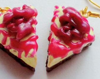Blueberry Cheesecake Earrings - Miniature Food Jewelry - Inedible Jewelry - Cheesecake Jewelry - Gifts for Foodies - Kawaii, Dessert Jewelry