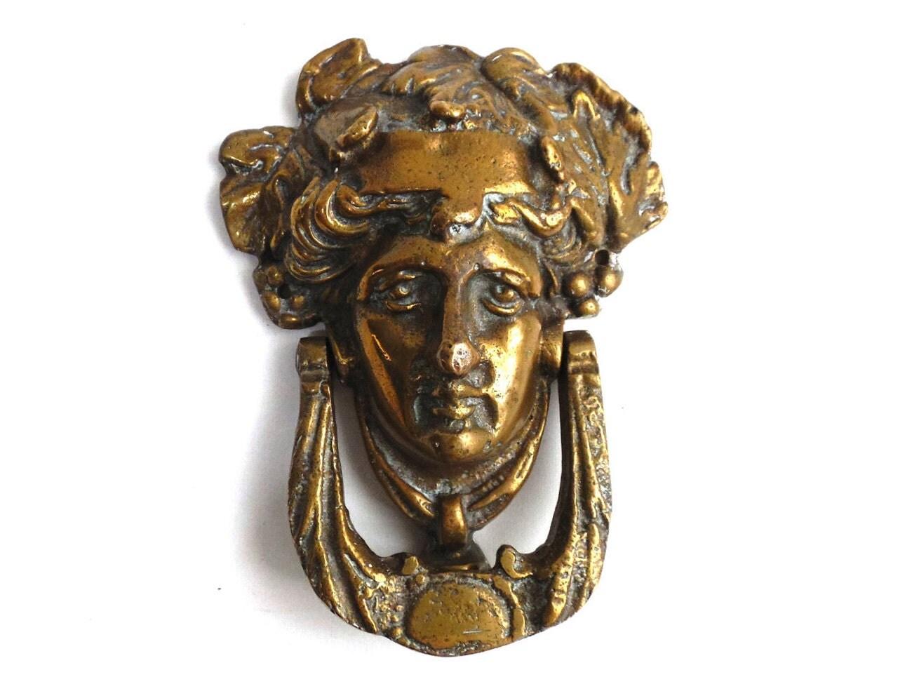 Door knocker antique brass door knocker solid by hooksandhardware - Antique brass door knocker ...