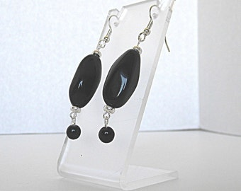 Black Earrings, Black Dangle Earrings, Black Drop Earrings, Fancy Earrings, Silver Earrings, Long Black Earrings
