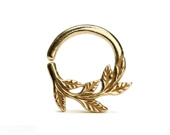 Leaves Septum Ring Nose Ring Body Jewelry Yellow Gold Plated Silver Bohemian Fashion Indian Style 14g 16g - SE036R YGP