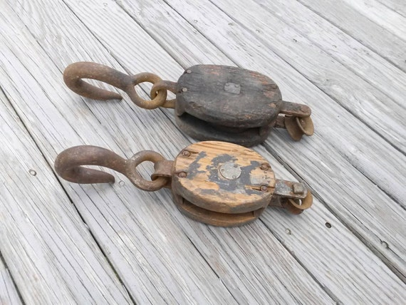 Pulleys And Blocks For Sale : Sale vintage large block tackle pulleys lot of