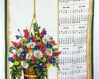 Vintage 1985 Floral Calendar Tea Towel