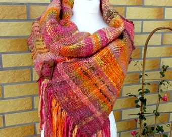Origilal designed handwoven scarf shawl Saori weaving Boho wool scarf  Handspun scarf Handwoven wrap stole Long woven scarf Woven shawl