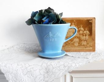 1950s Melitta Coffee Filter 123 Solid Ironstone Blue
