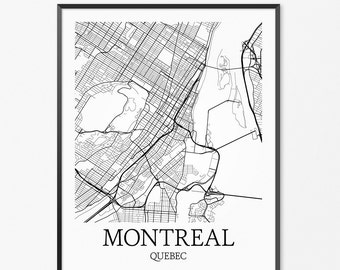 Montreal Map Art Print, Montreal Poster Map of Montreal Decor, Montreal City Map Art, Montreal Gift, Montreal Canada Art Poster