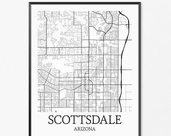 Scottsdale Map Art Print, Scottsdale Poster Map of Scottsdale Decor, Scottsdale City Map Art, Scottsdale Gift, Scottsdale Arizona Art Poster