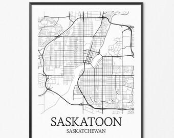 Saskatoon Map Art Print, Saskatoon Poster Map of Saskatoon Decor, Saskatoon City Map Art, Saskatoon Gift, Saskatoon Saskatchewan Art Poster