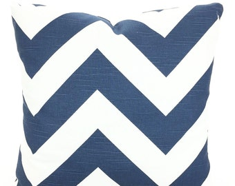 Navy Blue Chevron Pillow Covers, Decorative Throw Pillows, Cushion Covers, Throw Pillow, Couch Pillows, Zippy, Pillow, One or More All Sizes