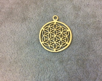 CXC Small Sized Gold Plated Copper Sacred Seed/Flower of Life Shaped Components - Measuring 24mm x 24mm - Sold in Packs of 10 Components
