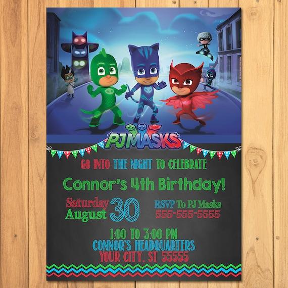 Pj Masks Invitation Chalkboard * Pj Masks Birthday * Pj Masks Printables * Pj Masks Invite * Pj Masks Party Favors