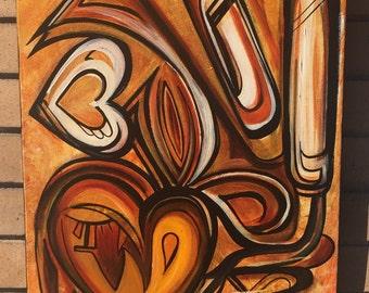 Golden Heart Original Painting