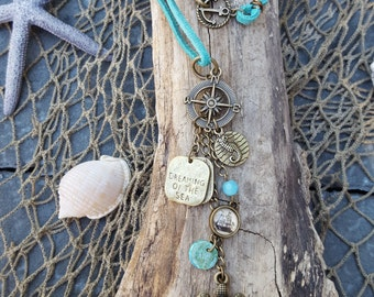 Wanderlust Necklace - Coastal Accessory - Coastal Statement Necklace - Beach - Travel - Sea Turtle - Mermaid Accessories - Salty Soul