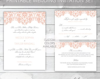 Blush/Gray Printable Wedding Invitation Set | Classic | Nicole Collection | RSVP & Details/Enclosure Card | Custom Colors Available