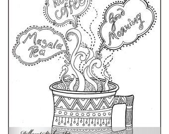 coloring page, adult coloring page, printable coloring pages, adult colouring page, coffee coloring page, coffee lover,  but first,  coffee