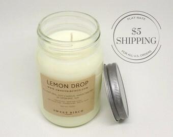Lemon Candle - Spring Candle - Lemon Soy Candle - Large Jar Candles - Meyer Lemon - Citrus - Lemon Drop