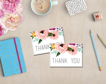 """7"""" x 5"""" Digital Printable Card - Thank You - Pink Floral Wreath Card - Stationery Cards - Instant Download"""
