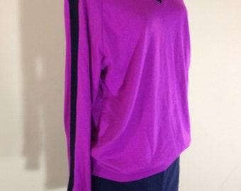 Awesome 80's Retro Slouchy Sweatshirt Womens Med Large Fuchsia Purple