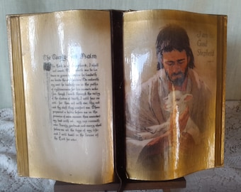 Bible Scripture display, 23rd Psalm, pictures of Jesus