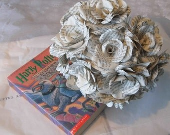 12 x Harry Potter Paper Roses, Book Page Paper Flower Roses - Handmade Paper Flowers - Dozen paper roses