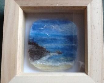 Needle felted seascape