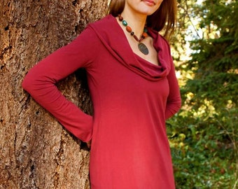 SALE ** Scoop Cowl Long Sleeve Tunic, Organic Cotton Jersey