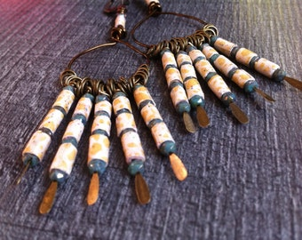Earrings Creole pending, paper beads, glass