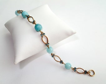 Aquamarine Beaded Bracelet, Gold and Crystal Bracelet, Gold Jewelry, Vintage Style Bracelet, Birthstone Gift For Her