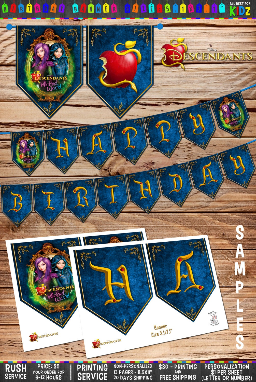 disney descendants birthday banner gold birthday party