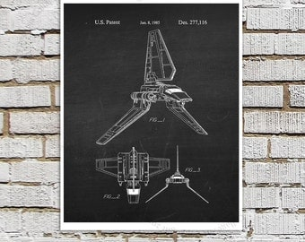 Star Wars print #16 Imperial Shuttle Patent Poster, Empire Strikes Back, Starwars Art, Movie Wall Art, Star Wars Ships, Star Wars Gift