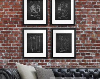 Drumkit Patent Art Set of 4 Unframe prints - Drummer Wall Decor, Snare Drum, Hi-hat, Drumstick Percussion Instruments, Drummer Gift Idea